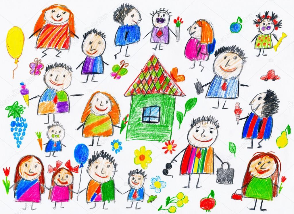 colección de personas, niños objeto de dibujo en el papel, Foto arte ...