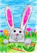 Ostern Hase auf grünem Gras Wiese mit Eiern und Gemüse, Ferienkonzept, Frühjahrssaison Kind auf Papier