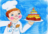 cook and cake, child drawing on paper, birthday and holiday concept