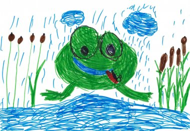 children's drawing. frog