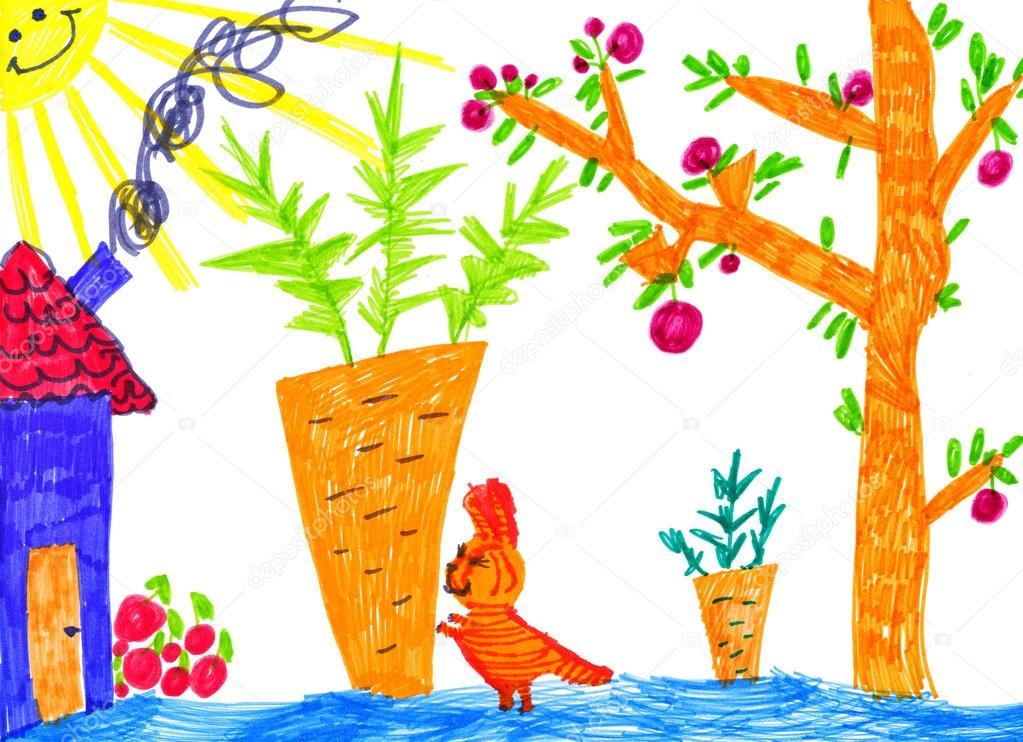 Kitty V Kuchynske Zahrady Detske Kresby Stock Fotografie C Soleg