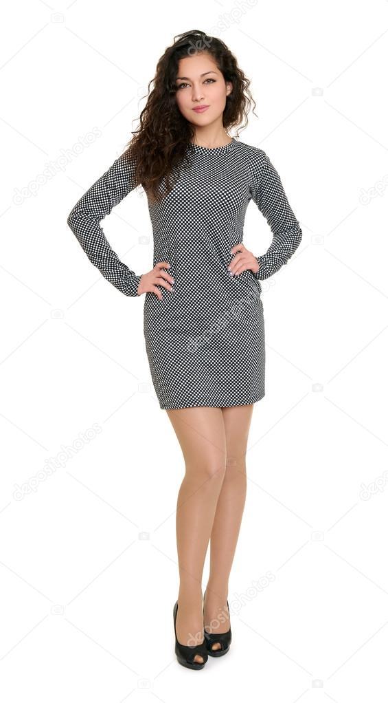Vestido largo de cuadros blanco y negro
