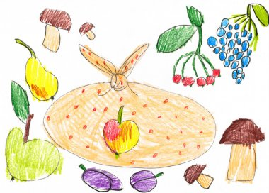 set of fruits and vegetables. childlike drawing.