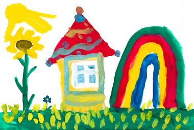 Home on meadow and rainbow. Childlike drawing.