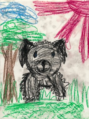 disheveled dog. children drawing