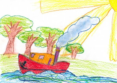 ship sails near the shore. child drawing.