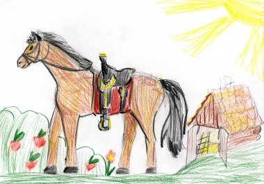 horse on meadow. child drawing