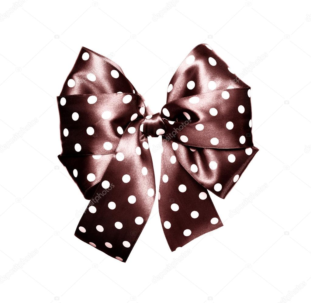 Dark brown bow with white polka dots made from silk isolated — Fotografie  od ... 5972df2be8