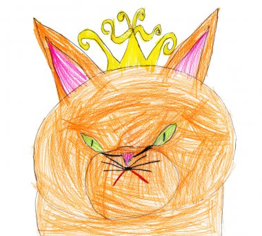 red cat queen. child drawing.
