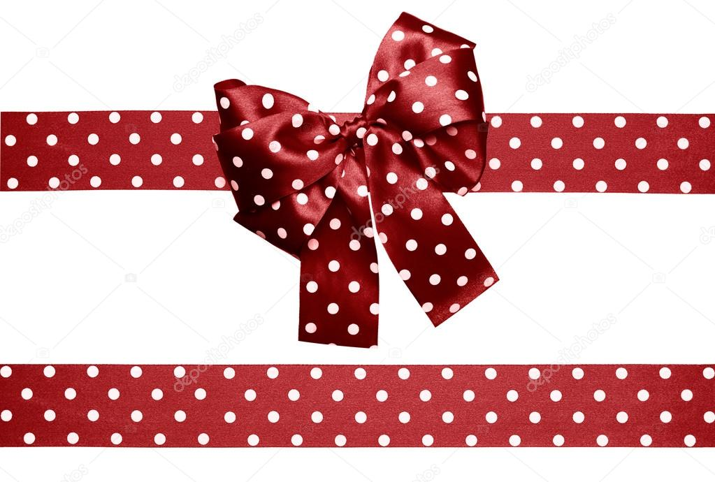 Brown bow and ribbon with white polka dots made from silk isolated —  Fotografie od ... 1206d8c16e