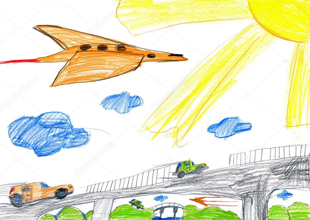 Auto Na Most A Letadlo Detske Kresby Stock Fotografie C Soleg