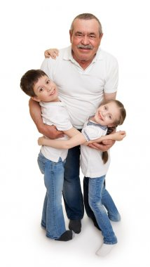 senior with children family portrait