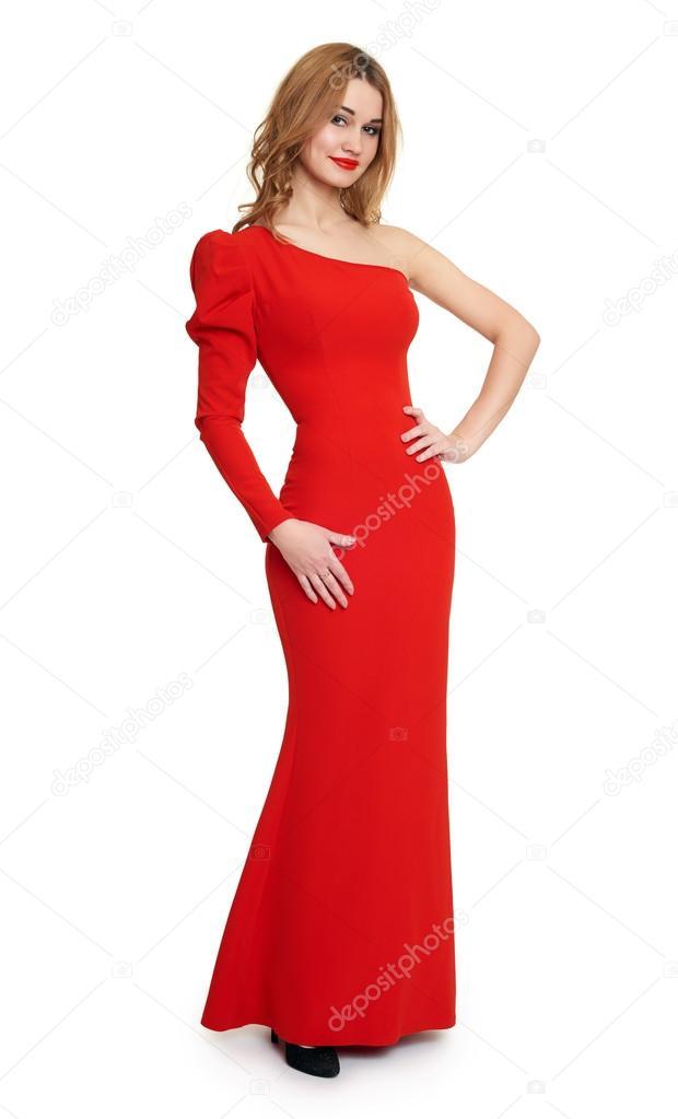 f467a37d34dac Señora de vestido rojo. fondo blanco — Foto de stock © soleg  94870022