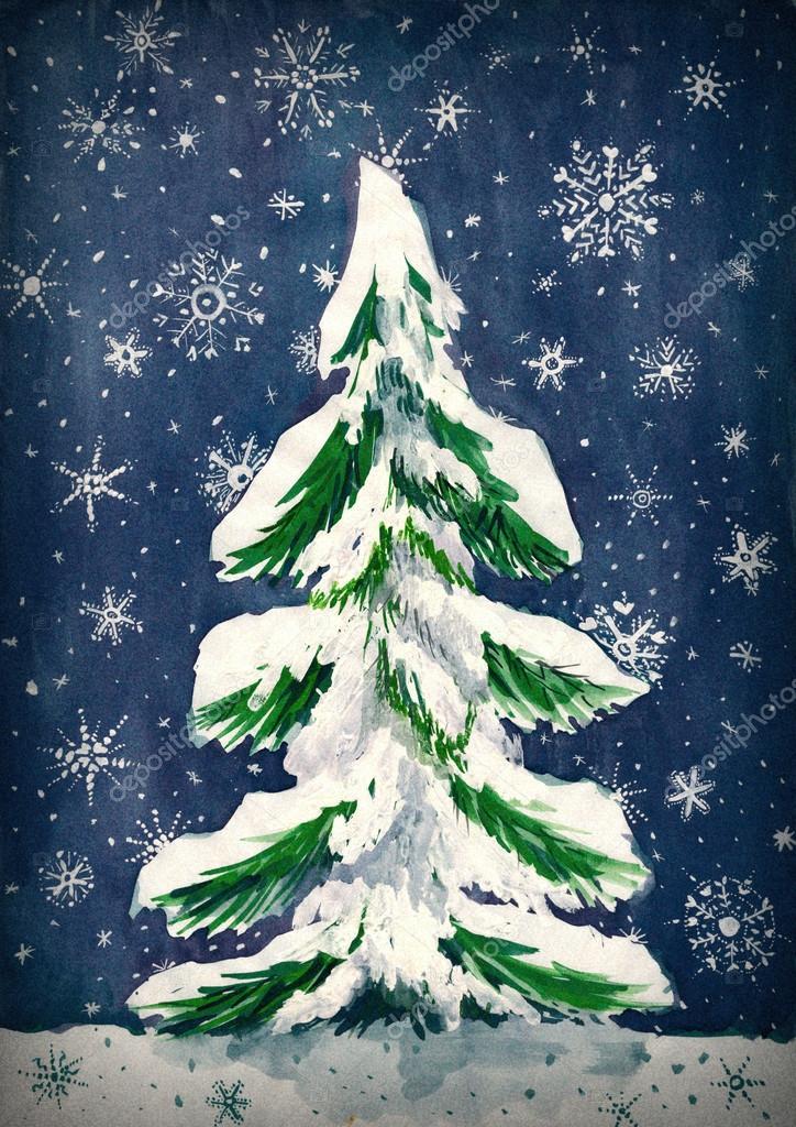 Tannenbaum Mit Schneefall.Weihnachten Tannenbaum Mit Schnee Auf Dunkle Aquarell Malerei Auf