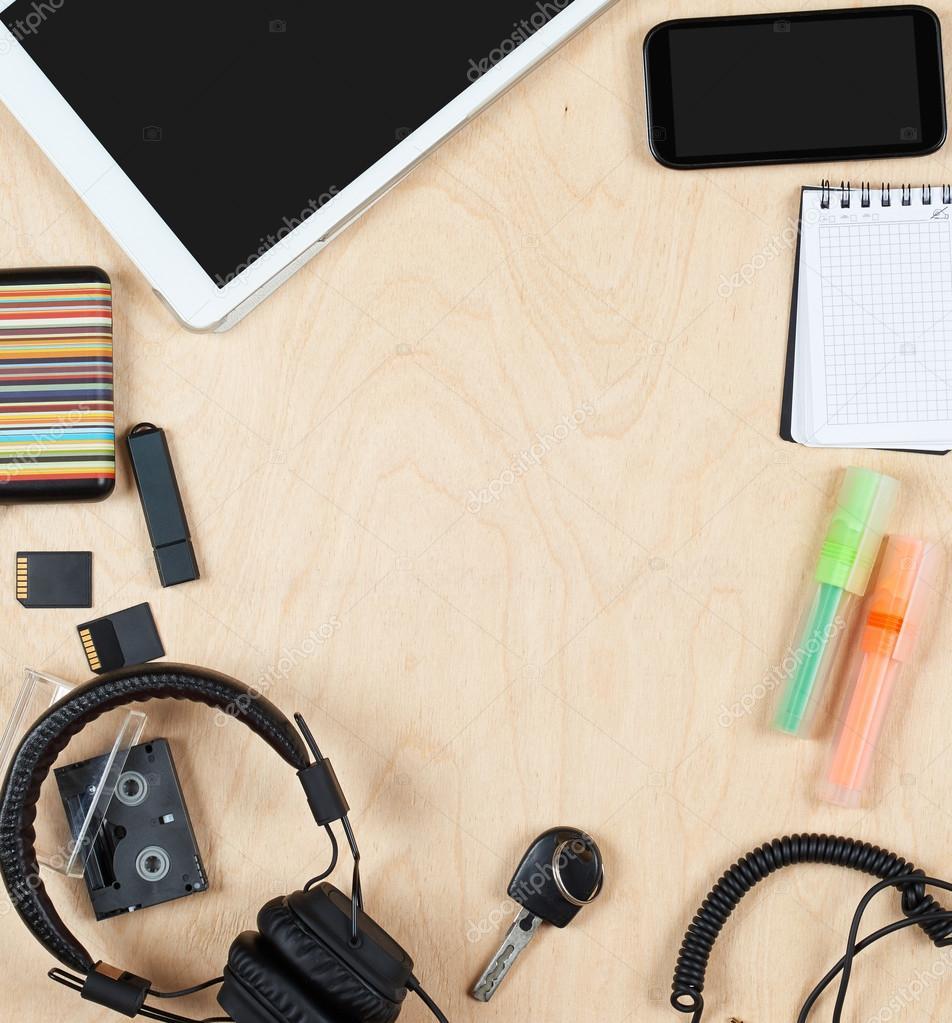 Oficina endecha plana herramientas y suministros, tablet PC ...