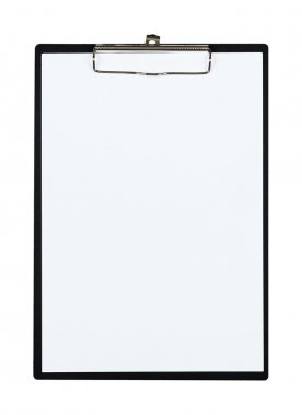 Clipboard with blank paper sheet isolated object