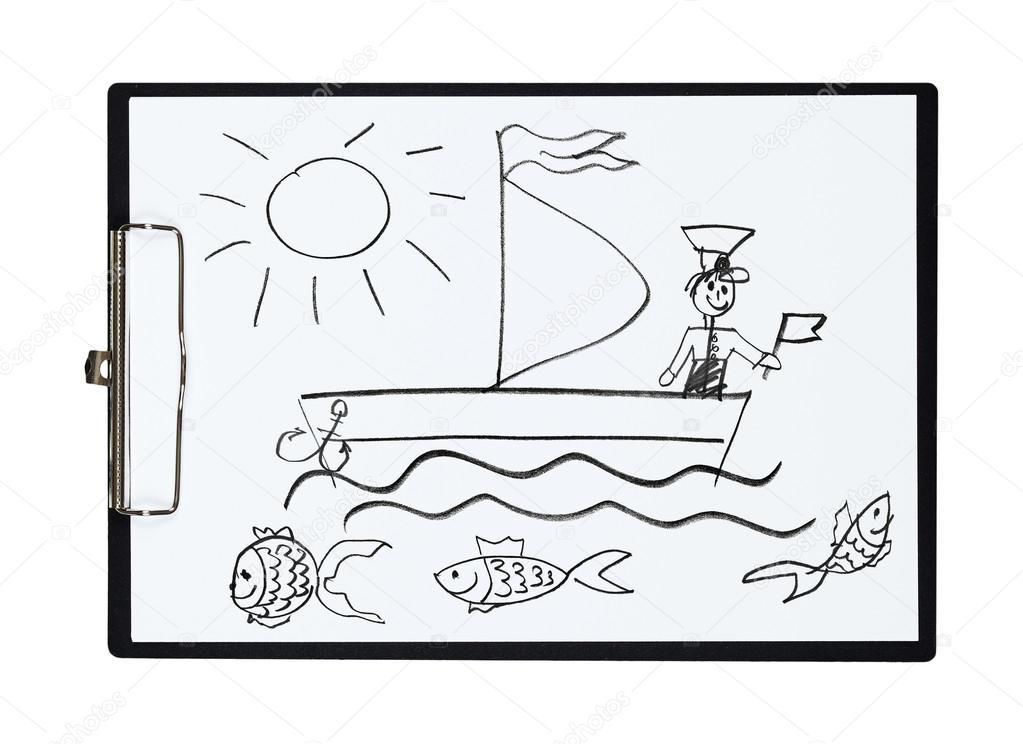 Segelschiff bleistiftzeichnung  Zwischenablage und Papier Blatt mit Bleistiftzeichnung Segelschiff ...