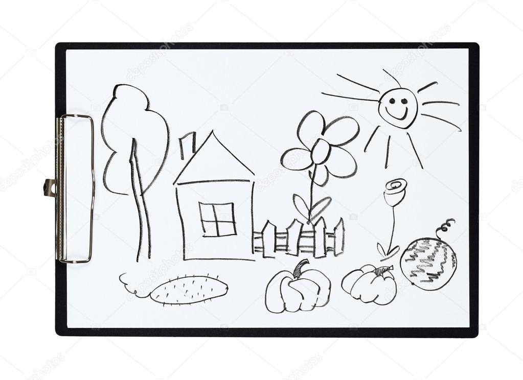 Schranka A Papiru List S Tuzkou Kresba Venkovsky Dum A Zahrady