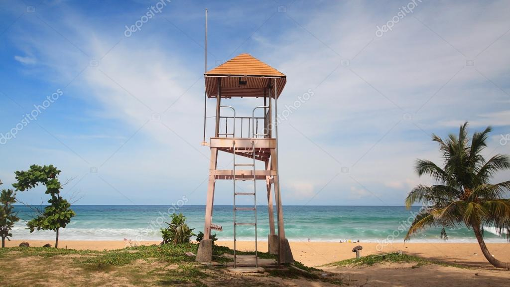 Lifeguard tower or house at Patong beach in Phuket