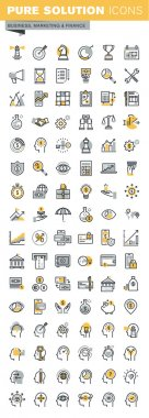 Set of modern vector thin line business and finance icons