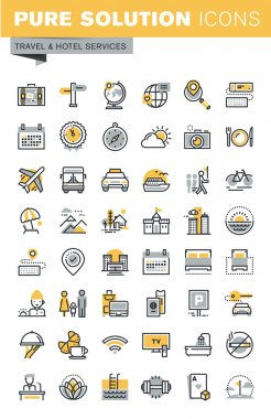 Set of modern vector thin line travel icons