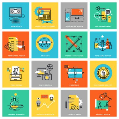 Modern thin line flat design icons for corporate identity, graphic design process, market research, web design and app development
