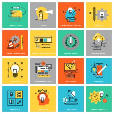 Modern thin line flat design icons for graphic and web design services and tools, innovation and creative process