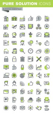 Thin line icons set of business, office supplies and equipment, online communications, social network, technical support, mobile services