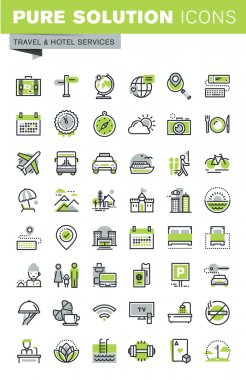 Thin line icons set of travel destination, hotel services