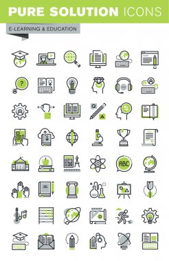 Thin line icons set of distance education, online training and courses