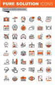 Fotografie Set of thin line web icons for hotel services and facilities