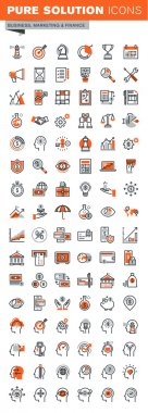 Set of thin line web icons for business, banking, market research, human brain process
