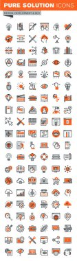 Set of thin line web icons for graphic and web design and development
