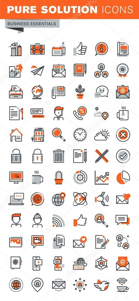 Set of thin line web icons for basic business tools