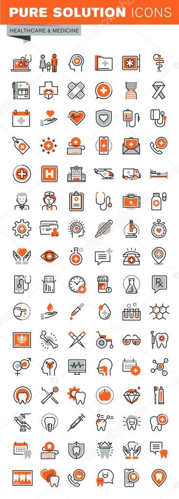 Set of thin line web icons for clinic and hospital facilities, pharmacy, dental care