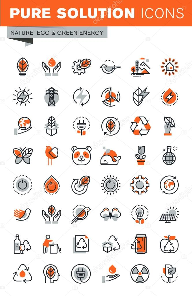 Set of thin line icons of environment, green energy, biodegradable materials, nature protection, recycling