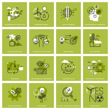 Set of thin line concept icons of environment, renewable energy, sustainable technology, recycling, ecology solutions