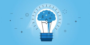Flat line design website banner of big idea, inspiration, brainstorming, business ideas