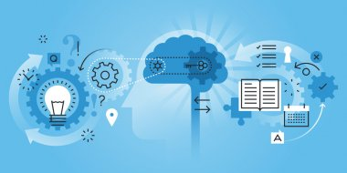Flat line design website banner of learning process, brain process, creativity, innovation, learn to think