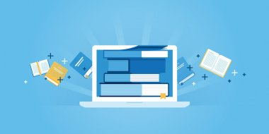 Flat line design website banner of e-learning, e-book, online education