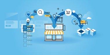 Flat line design website banner of online shopping.