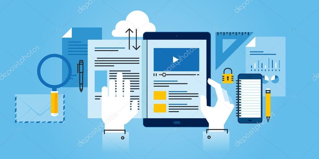 Flat Line Design Website Banner Of E Learning Stock Vector C Variant 102810348