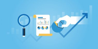Flat line design website banner of business research and analysis