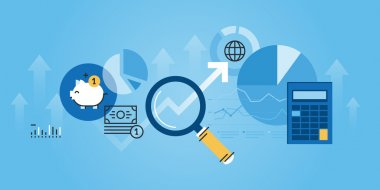 Flat line design website banner of financial analysis