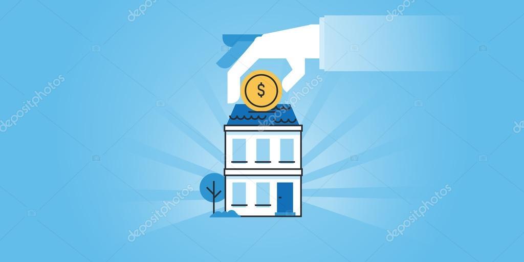Flat line design website banner of housing loans