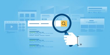 Flat line design website banner of web search
