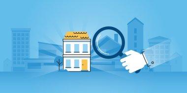 Flat line design website banner of real estate