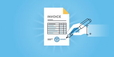Flat line design website banner for an invoice