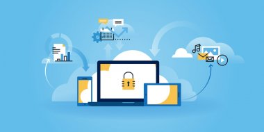 Flat line design website banner of internet security