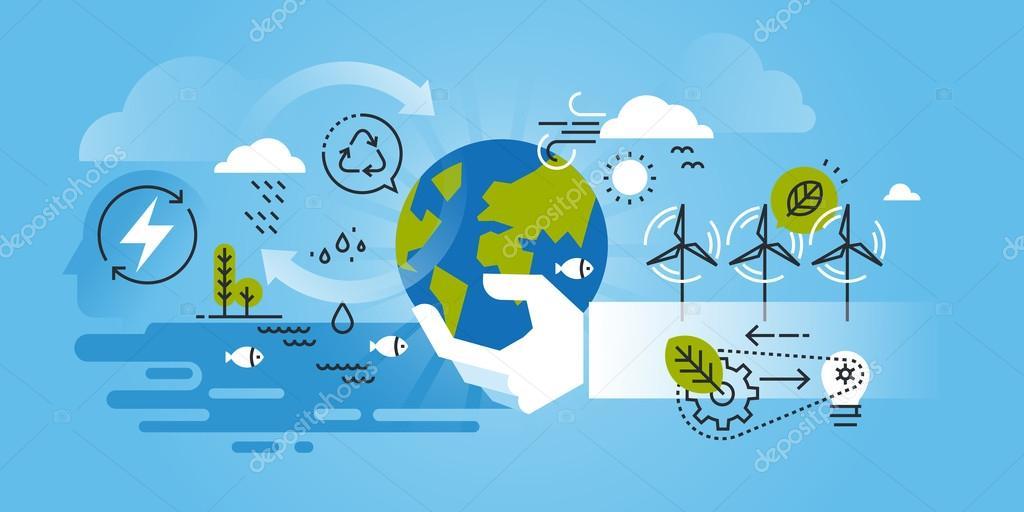 Flat line design website banner of environment, renewable energy, green technology, biosphere conservation.